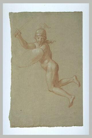 Femme nue, casquée, volant dans les airs