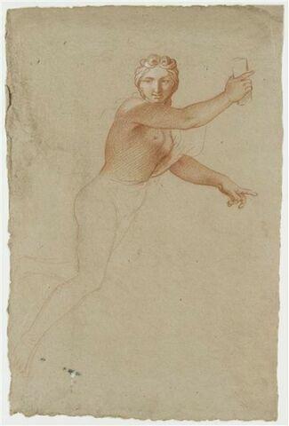 Femme demi-nue, volant vers la droite