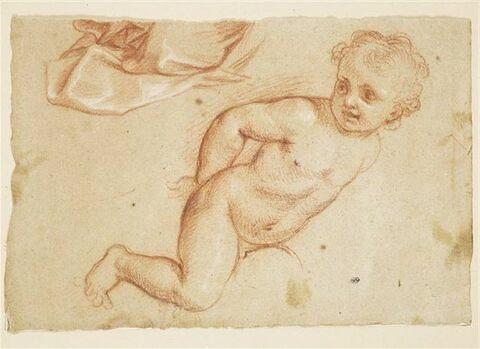 Etude d'un enfant nu et d'une portion de draperie