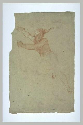 Femme demie-nue, volant vers la gauche