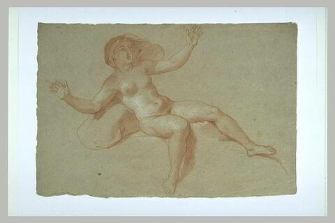 Femme nue, assise, les bras ouverts