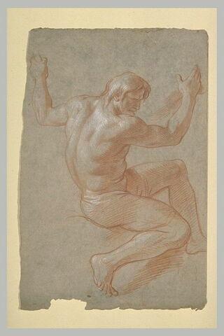 Homme nu, demi-assis, les deux bras levés