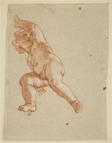 Enfant nu, le bras levé