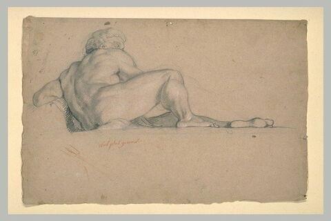 Homme nu, assis, vu presque de dos