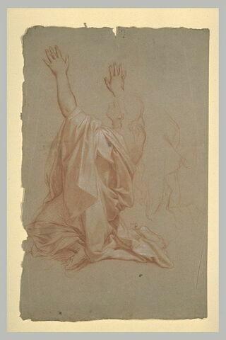 Femme drapée, à genoux, les deux bras levés
