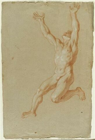 Homme nu, les bras levés