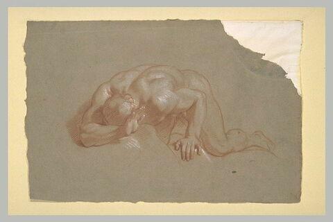Homme nu, la face cachée par un bras replié