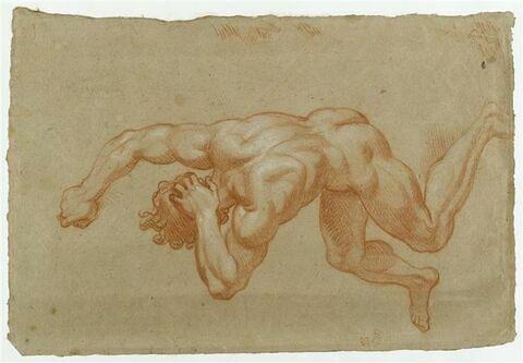 Homme nu, les bras et les jambes en mouvement