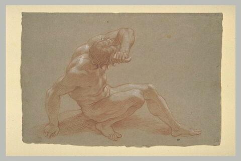 Homme nu, de profil, la tête vue par derrière