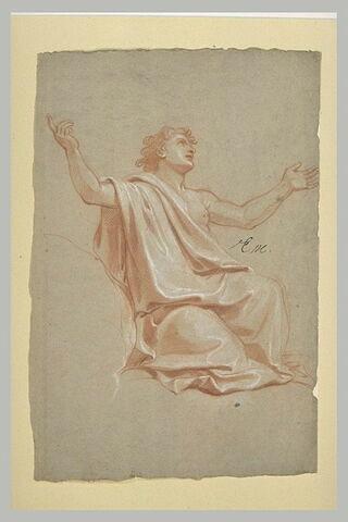 Figure drapée à genoux, les bras levés