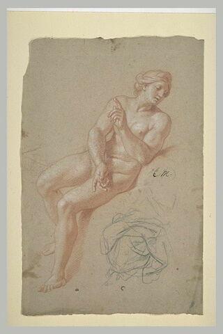 Femme nue, assise : la Prévoyance ; draperie