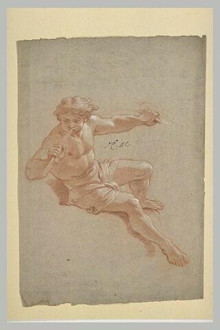 Homme demi-nu, jouant de la trompette