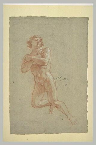 Homme nu, volant, les bras croisés sur la poitrine