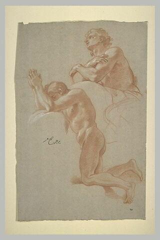 Deux hommes nus, en adoration