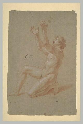 Homme nu, un genou à terre, les bras levés