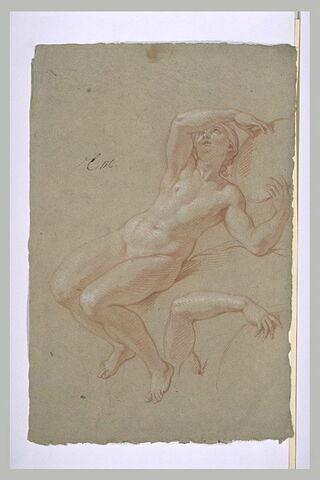 Femme nue, un bras levé, tenant un bouclier