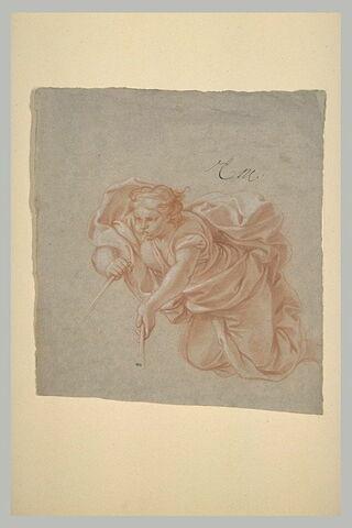Figure drappée volante, jouant de la trompette