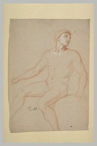 Homme nu, assis, coiffé d'un turban