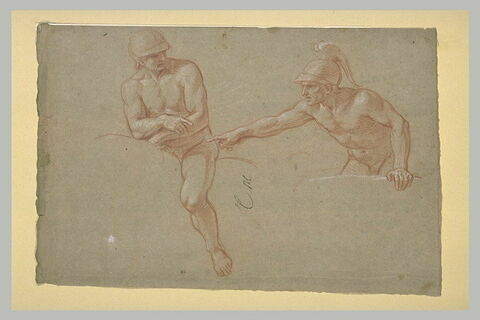 Un cavalier et un soldat, nus, casqués