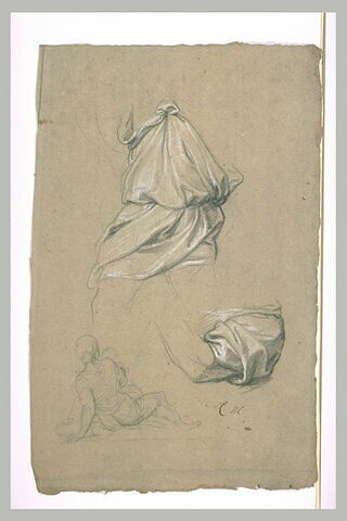 Deux études de draperie. Croquis d'une femme assise, vue de dos
