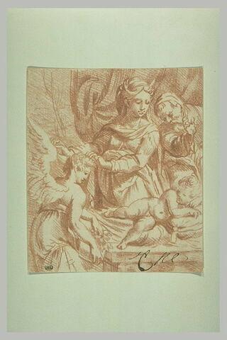Le sommeil de Jésus, adoré par la Vierge, saint Joseph et un ange