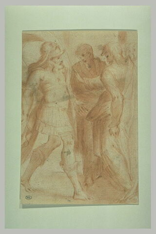 Deux personnages et un soldat romain