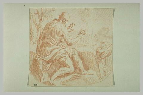 Angelot apportant du bois à un vieillard près d'un feu