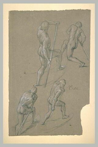 Quatre études d'homme nu, debout sur une barque