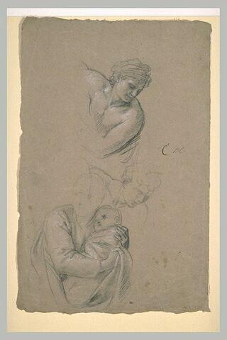 Une femme tenant un enfant. Deux études d'homme penché en avant