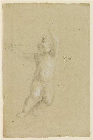 Enfant nu, volant, tourné vers la gauche