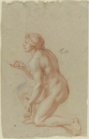 Femme nue, un genou à terre