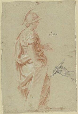 Femme debout, drapée et casquée ; Etude de main