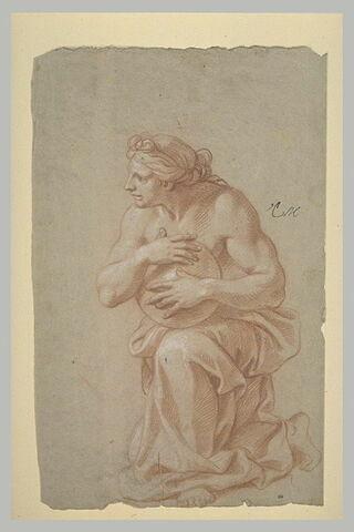 Femme demi-nue, un genou à terre