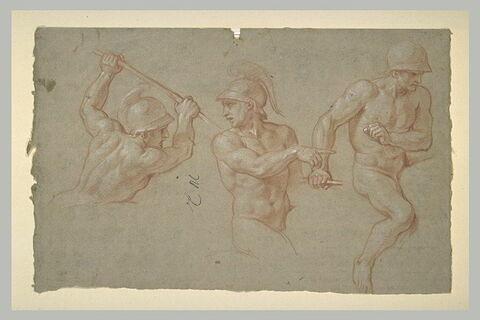 Trois cavaliers nus, casqués