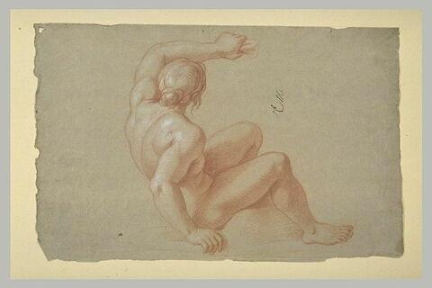 Femme nue, assise, vue presque de dos
