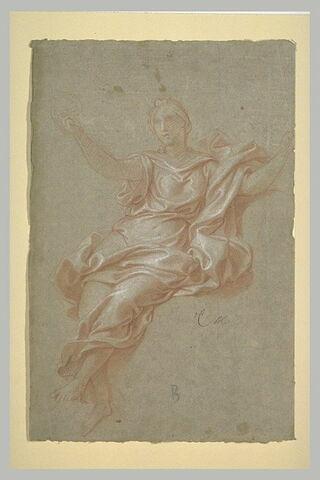 Femme drapée, assise dans les airs : la Vigilance