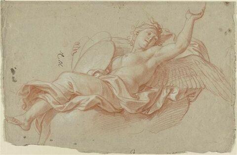 Femme ailée, couchée sur des nuages : une Victoire