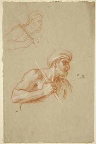 Homme en buste, coiffé d'un turban