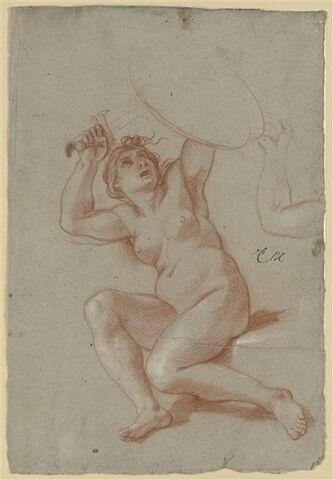 Femme nue, un genou à terre, tenant un bouclier au-dessus de la tête