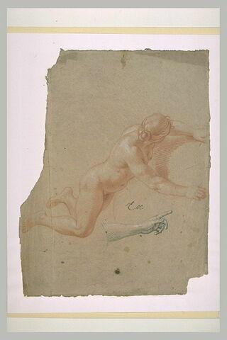 Femme nue, volant vers la droite
