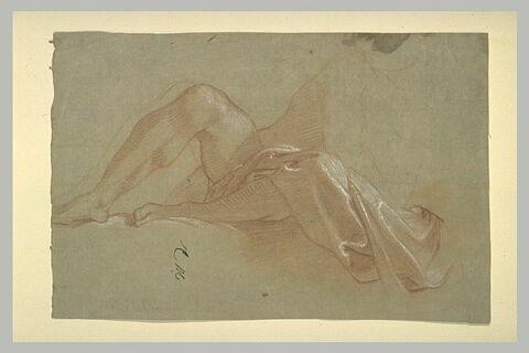 Deux jambes partiellement drapées, d'une figure à demi allongée