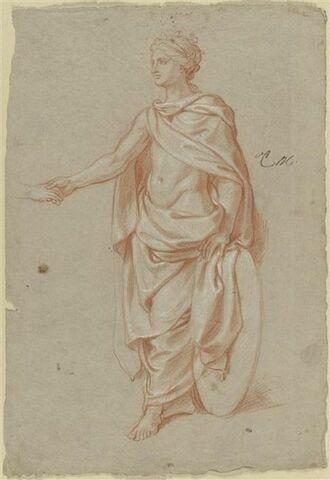 Femme debout, drapée et couronnée