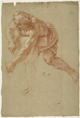 Homme demi nu, coiffé d'un turban