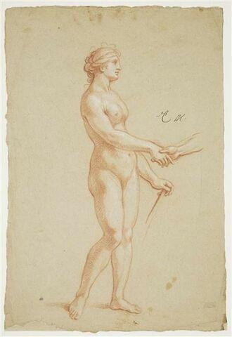 Femme nue, debout de profil