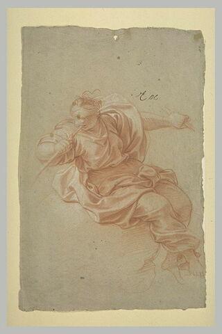 Femme drapée, assise sur un nuage, soufflant dans une trompette
