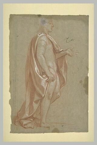 Homme drapée, debout de profil