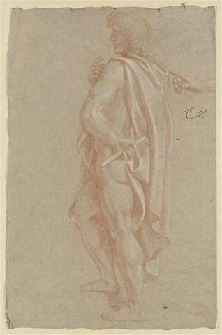 Homme drapé, debout de profil ; étude d'une main