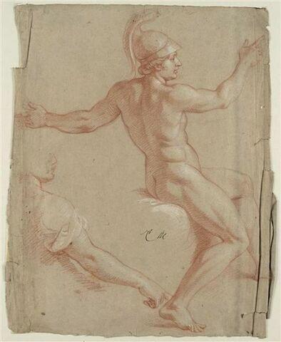 Femme nue, casquée, de profil