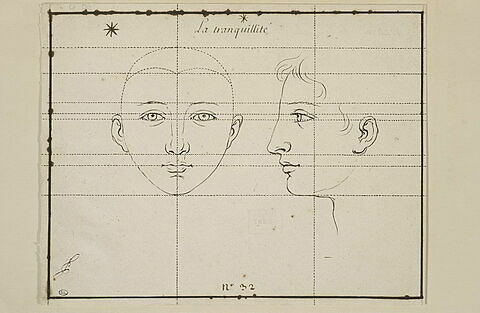 La Tranquillité : deux têtes, une de face et une de profil