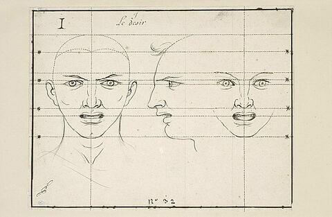 Le Désir : deux têtes de face et une de profil